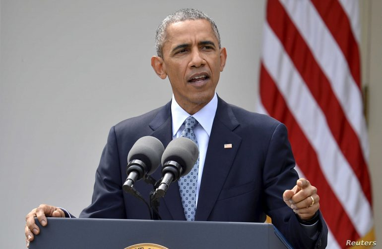 Barack Obama wearing a suit and tie