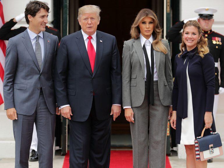 Donald Trump, Melania Trump, Sophie Gregoire posing for the camera