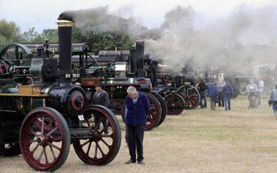 A steam train on the tracks