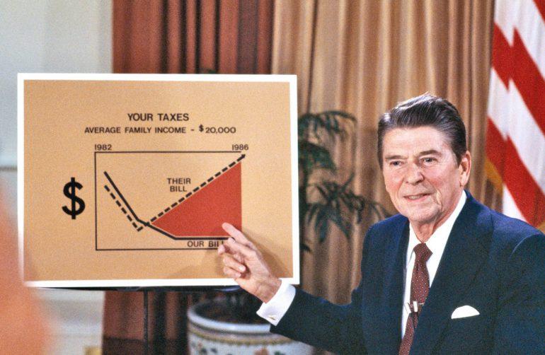 Ronald Reagan holding a sign