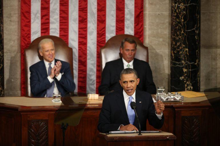 Joe Biden, Barack Obama, John Boehner are posing for a picture